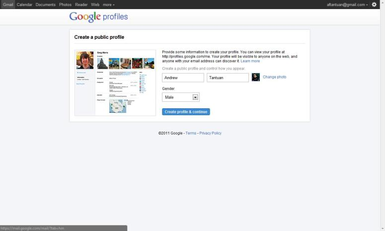 Creating a Google Profile account