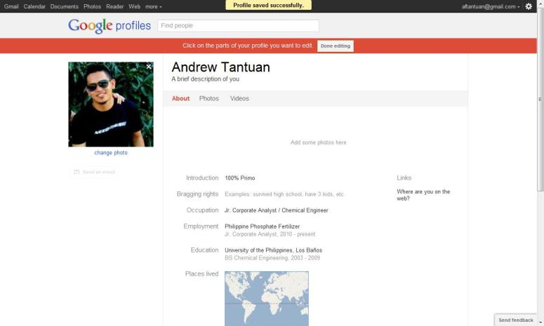 Filling out the information of your GooglePlus  profile