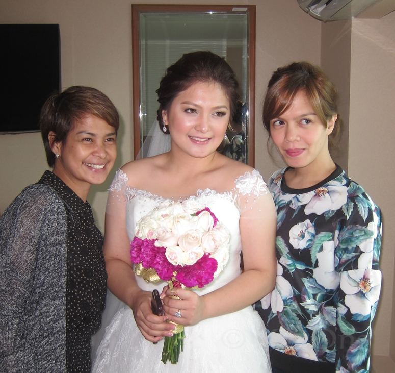 Ms. Czari (bride's Mua), Mina (bride), and her hairstylist