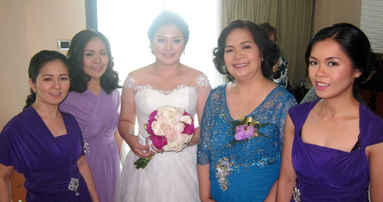 bride and entourage